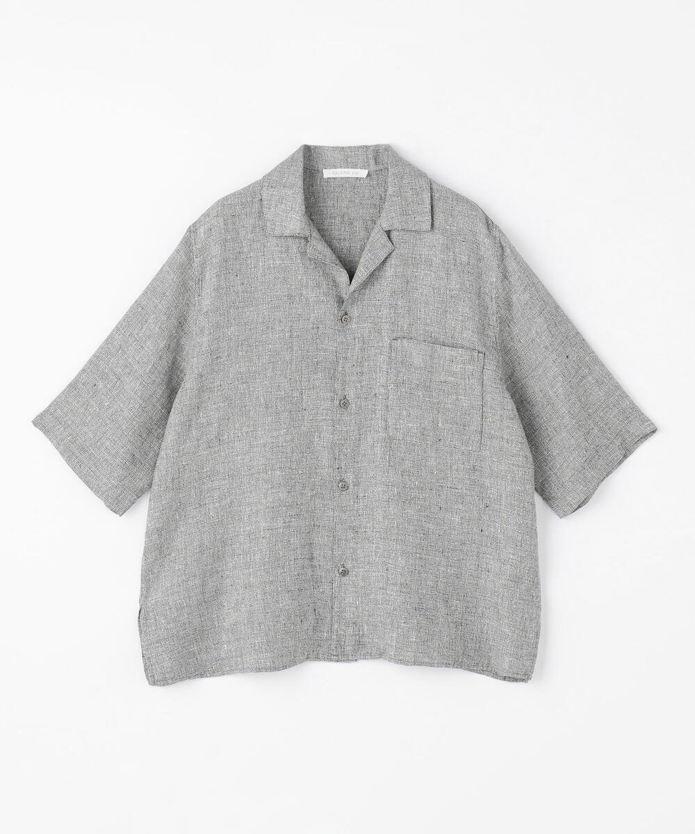 リネンチェック オープンカラーシャツ