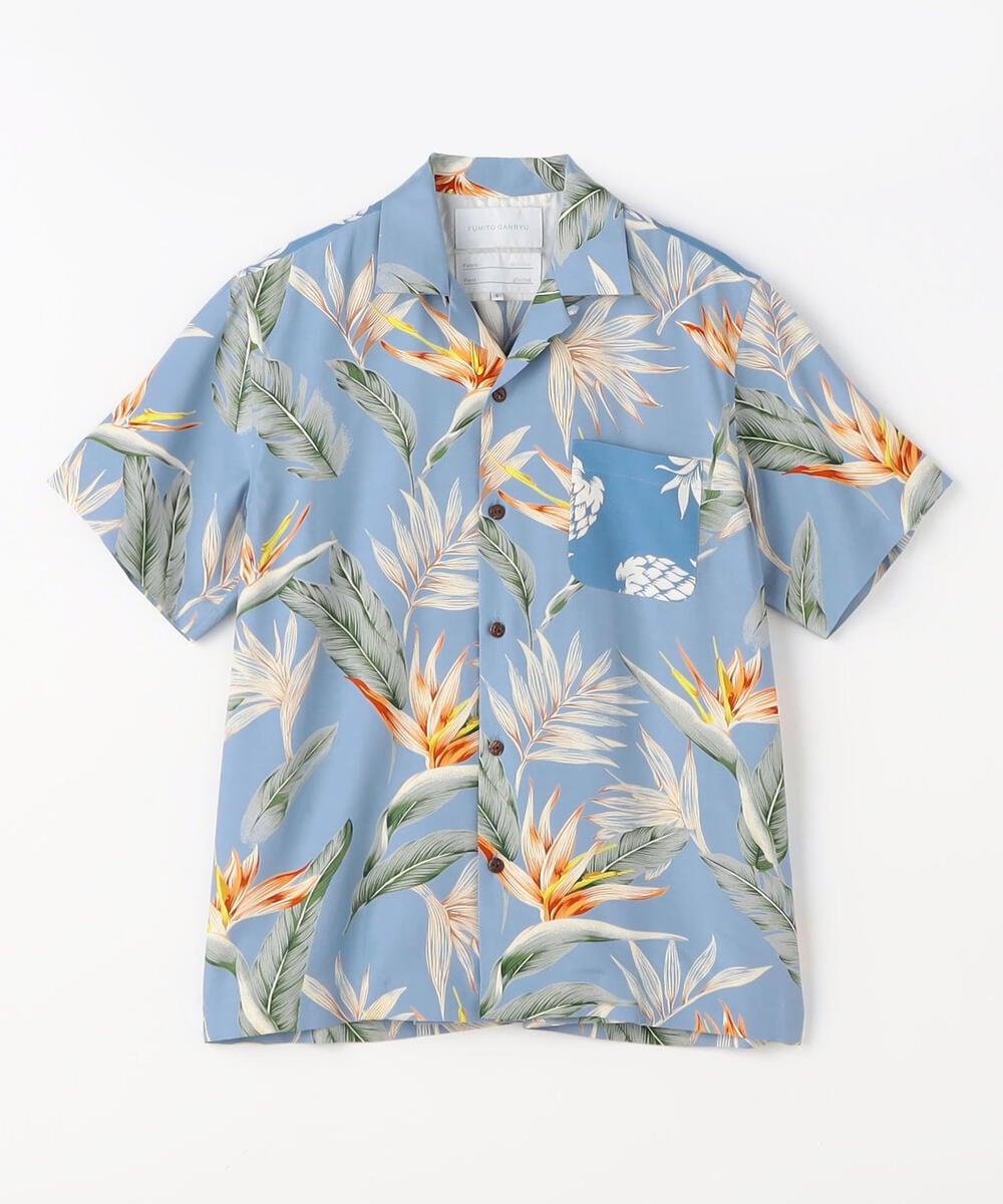 FUMITO GANRYU レーヨン ボックスプリーツ オープンカラーシャツ