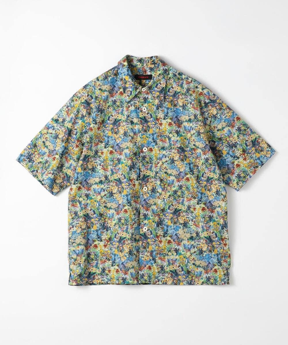CABaN コットン フラワープリントハーフスリーブシャツ